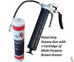 Grease Gun Heavy Duty Pistol Grip  with 1 Grease Cartridge, 400g/14oz Cartridge, Multi Purpose Grease
