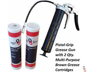 Grease Gun Heavy Duty Pistol Grip  with 2 Grease Cartridges, 400g/14oz Cartridge, Multi Purpose Grease