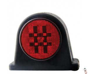 Rubber LED Side Marker Light Red/Clear Lens 10-30 Volts