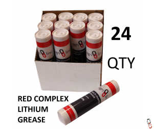 Grease Gun Cartridges, Red Lithium Complex EP2 Grease, 24 qty - 2 boxes of 12 cartridges - 400g