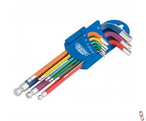 Draper Metric coloured extra long hex key set, 9 piece