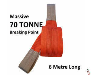 70 tonne Break Tow Strap GWS Orange Flat (10 tonne SWL Lifting) Sling 6 metre : Massive Strength Strap for Lorries and Tractors