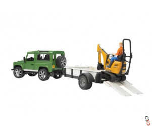 Bruder Land Rover Defender c/w Trailer & JCB Digger Farm Toy 1:16