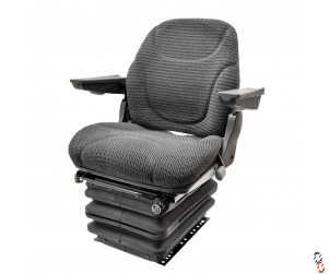 Tractor Air suspension seat 12V, grey fabric c/w armrests