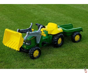 Rollykid Farm Toy John Deere Pedal Drive Ride-On Tractor c/w loader and trailer
