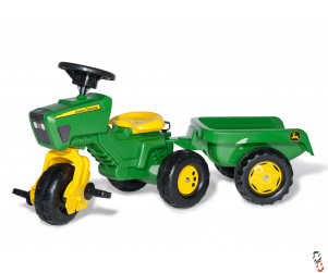 Rollykid Farm Toy John Deere pedal tractor with trailer Ride-On