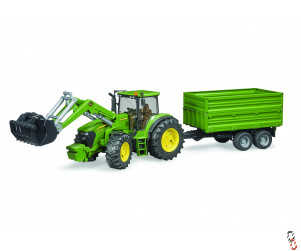Bruder Farm Toy John Deere 7930 Tractor with Loader and Trailer 1:16