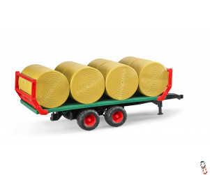 Bruder Bale Trailer c/w 8 Round Bales 1:16 Farm Toy