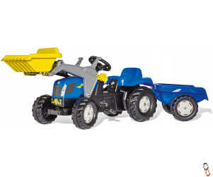 Rollykid New Holland Pedal Tractor c/w Loader & Trailer