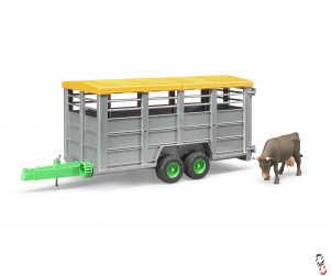Bruder Cattle Trailer c/w Cow 1:16 Farm Toy