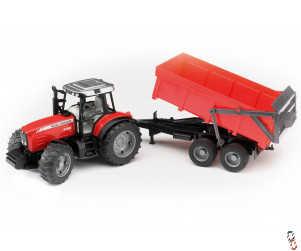 Bruder Massey Ferguson 7480 Tractor with Trailer 1:16 Farm Toy