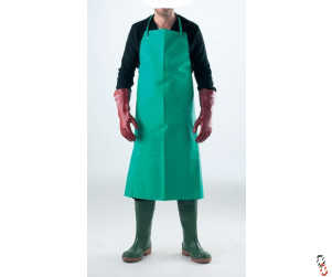 Chemical resistant apron, green PVC-coated nylon