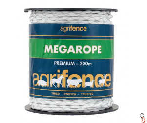 Agrifence Megarope premium white paddock rope, 200m