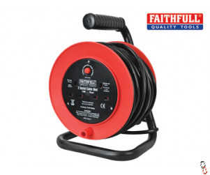 Faithfull Power plus 15m extension cable reel open drum 240V 13A 2-Socket c/w thermal overload protection