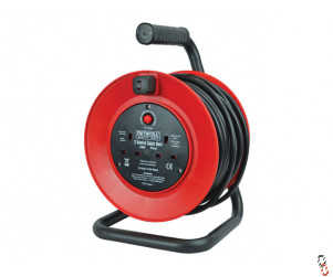 Faithfull Power 25m plus extension cable reel open drum 240V 13A 2-Socket c/w thermal overload protection