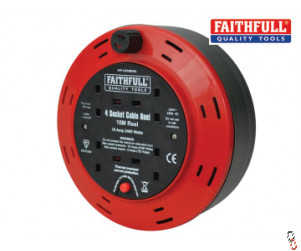 Faithfull Power plus extension cable reel 240V 10A 4-Socket c/w thermal overload protection