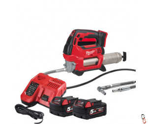 Milwaukee 18V Grease gun kit, supplied with fast charger and 2 5.0Ah batteries