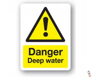 Danger- Deep Water Sign 300x400x3mm PVC