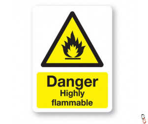 Danger- Highly Flammable Sign 300x400x3mm PVC