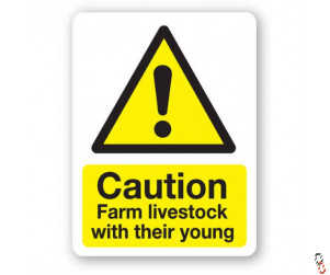 Caution Farm Livestock Sign 300x400x3mm PVC