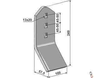 Cousins Angled Wear Plate 100x249mm