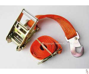 Simba 2.35m 50mm Ratchet Strap Set c/w Flat Snap Hooks, Orange Webbing