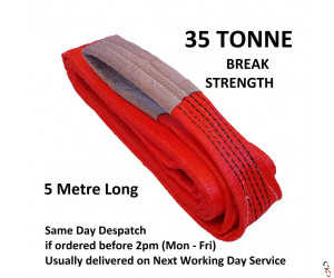 35 tonne Break Tow Strap GWS Red Flat Lifting Sling, 5 Tonne SWL, 5 metre Big Strength for Lorries Trucks and Vans