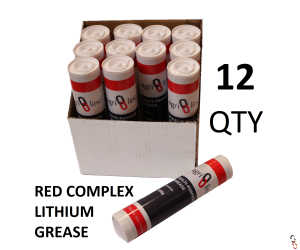 Grease Gun Cartridges, Red Lithium Complex EP2 Grease, box of 12 cartridges, 400g