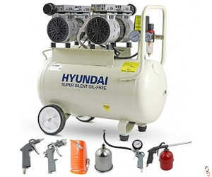 Hyundai 50 Litre Air Compressor, 11CFM/100psi, Oil Free, Low Noise, Electric 2hp with 5 Piece Accessory Kit | HY27550