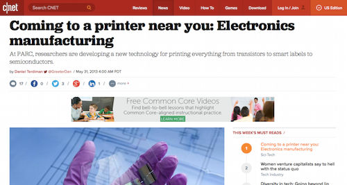 Coming to a printer ner you Electronics manufacturing