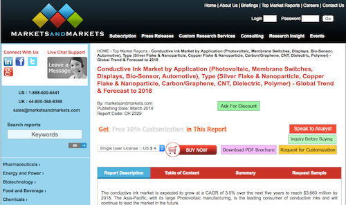Conductive Ink Market by Application, Type - Global Trend & Forecast to 2018
