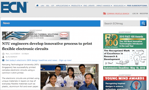 NTU engineers develop innnovative process to print flexible electronic circuits