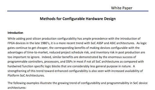 Methods for Configurable Hardware Design