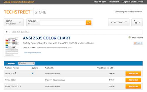 ANSI Z535 COLOR CHART