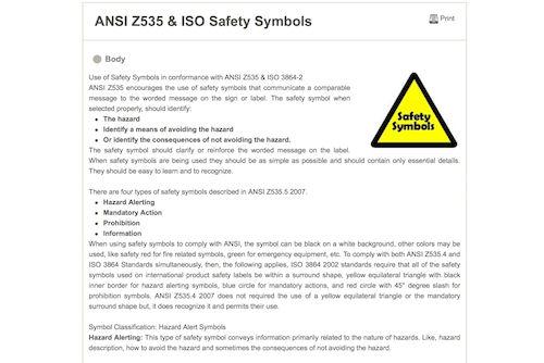 ANSI Z535 and ISO Safety Symbols