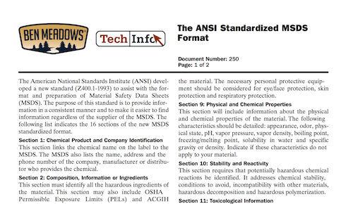 The ANSI Standardized MSDS Format