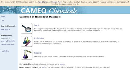US NOAA Database of Hazardous Materials