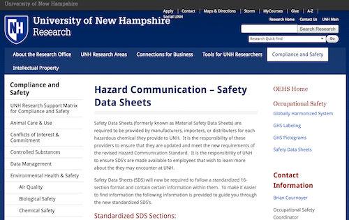 University of New Hampshire - Hazard Communication – Safety Data Sheets
