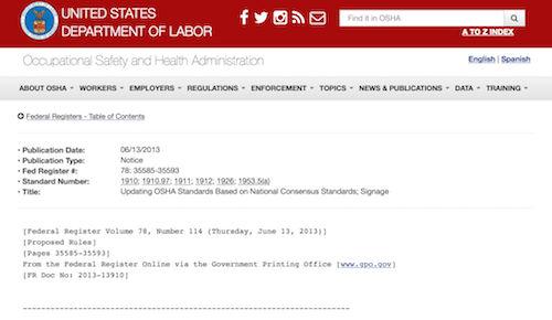 Updating OSHA Standards Based on National Consensus Standards Signage