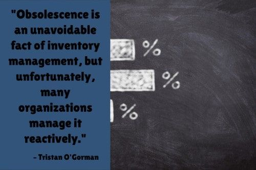 """""""Obsolescence is an unavoidable fact of inventory management, but unfortunately, many organizations manage it reactively."""" - Tristan O'Gorman"""