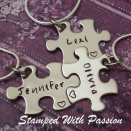 Personalized Puzzle Piece Necklace Set