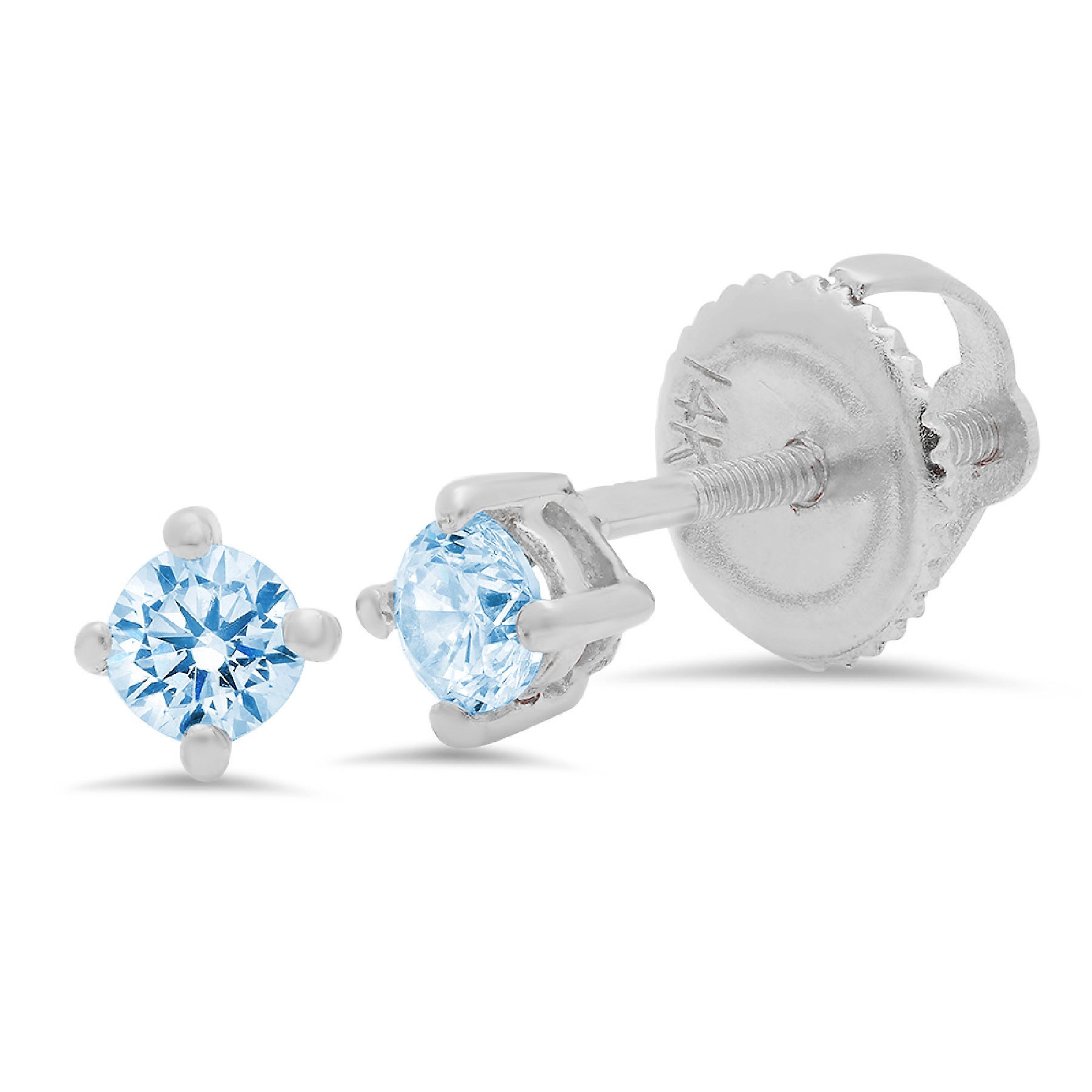 1 ct Brilliant Round Cut Solitaire Studs Designer Genuine Flawless VVS1 White Sapphire 14K 18K White Gold Earrings Screw back