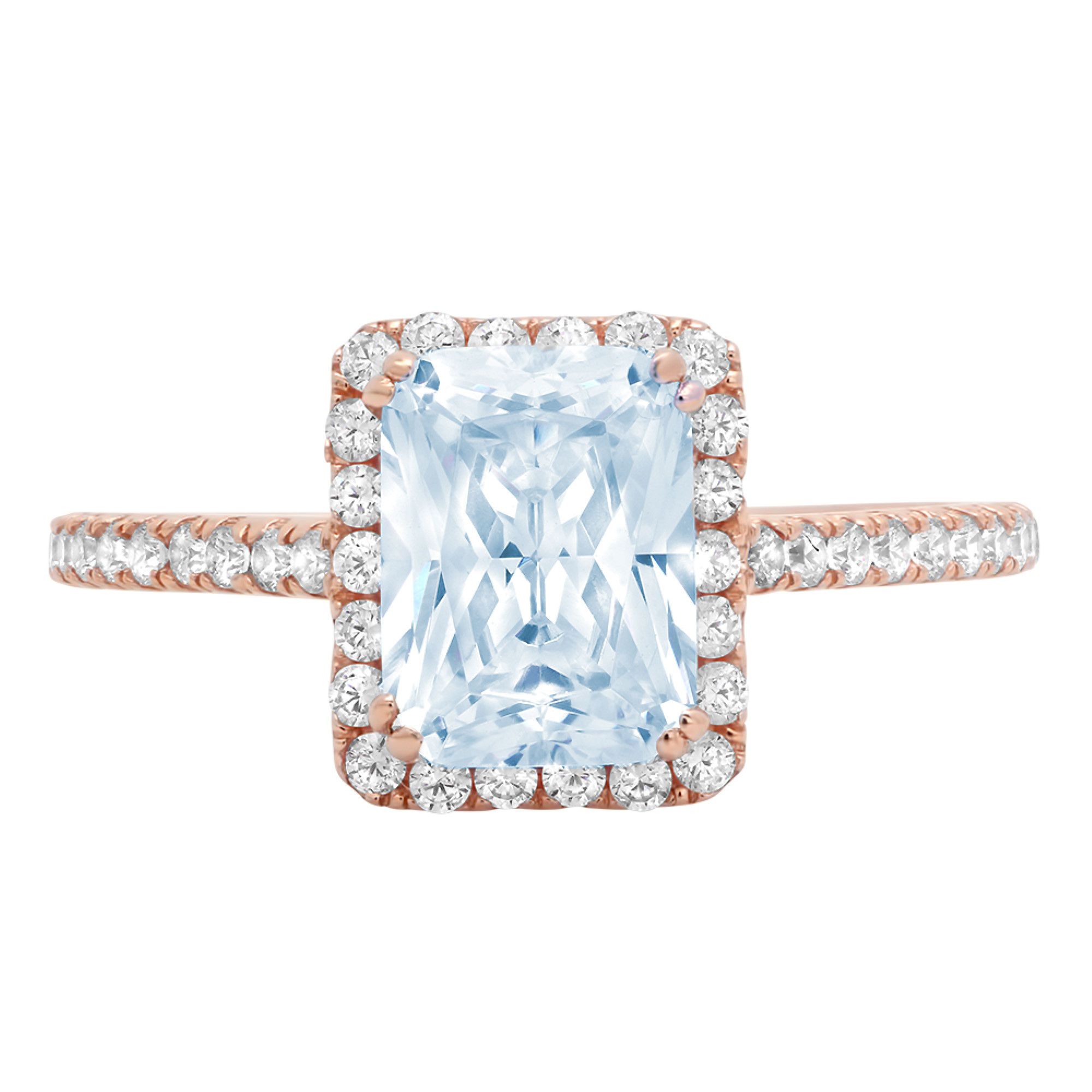 Details about  /1.98 ct Emerald Cut Clear CZ 18k Yellow Gold Halo Wedding Promise Bridal Ring