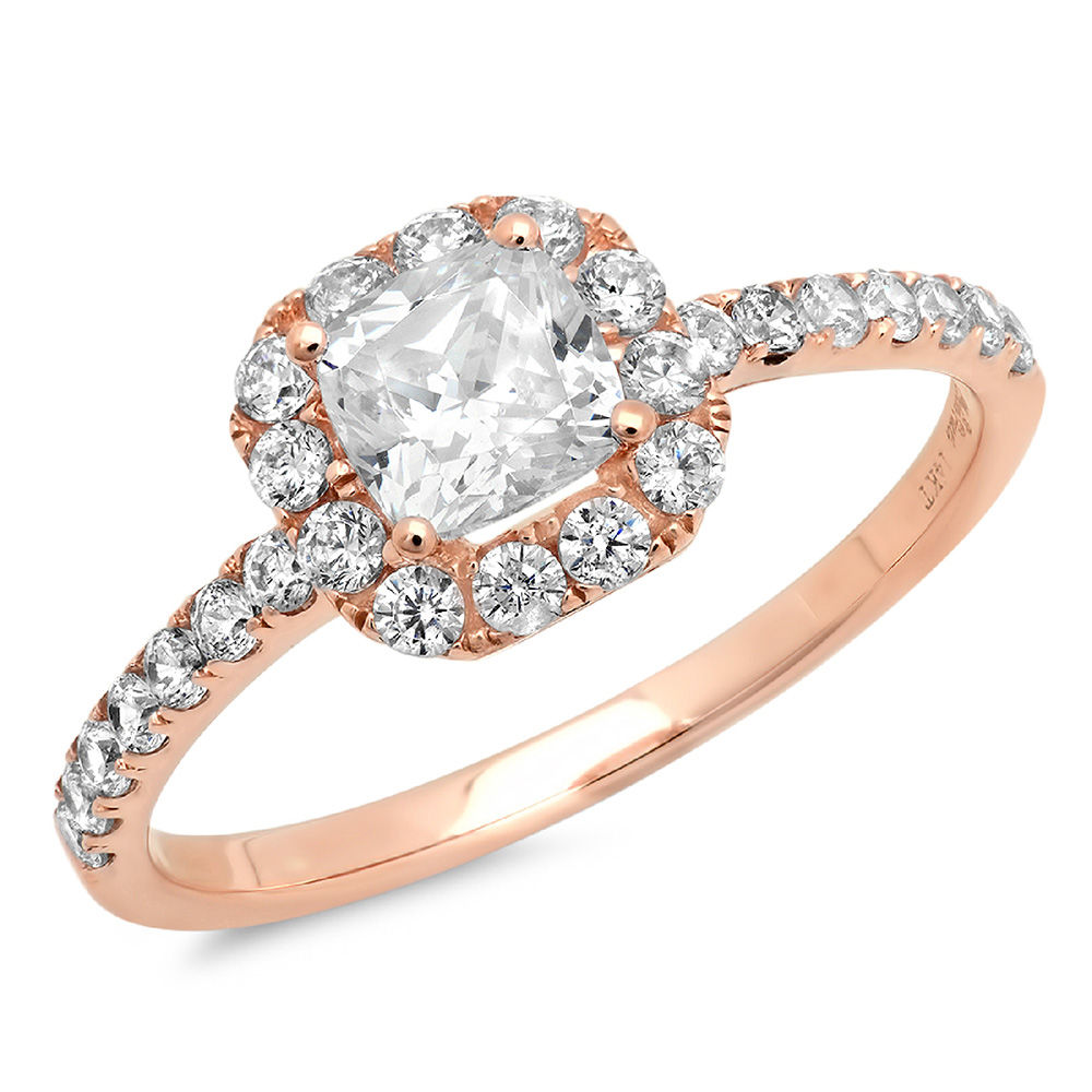 0.50 ct Princess Cut Pink Simulated Diamond Classic Wedding Engagement Bridal Promise Designer Ring Solid 14k Rose Gold