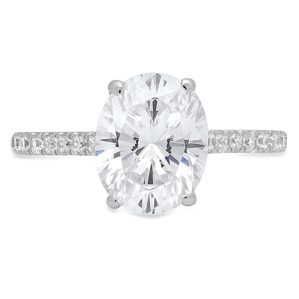 1 ct Oval Cut Clear White Sapphire VVS1 Classic Wedding Engagement Bridal Promise Classic Designer  Ring Solid 14k White Gold