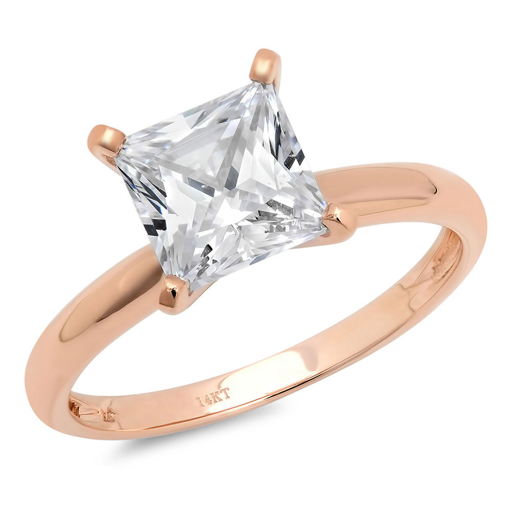 1 Ct Princess Cut Solitaire Diamond Engagement Promise Ring Solid 14K Gold