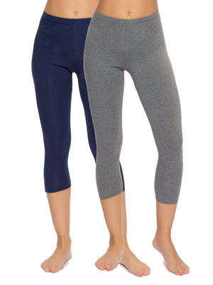 cotton modal legging capri color-navy/charcoal