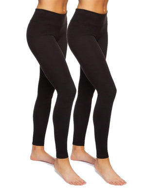 Felina Sueded Athleisure Performance Legging w/ Slimming Waist 2-Pack color-black