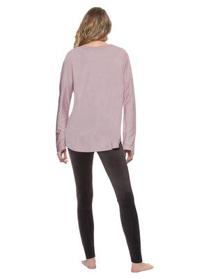 Ultra Luxe Velour Legging Set color-dawn pink shark