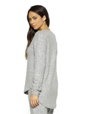 Felina Victoria Long Sleeve Crew Neck back shot color-heather gray